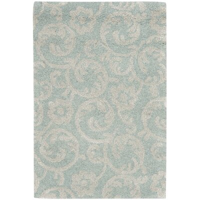 Soho Light Blue/Silver Area Rug Rug Size: 3'6