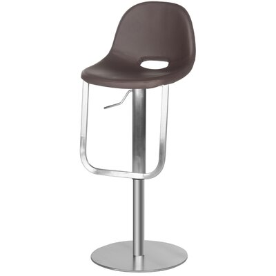 Fox Adjustable Height Swivel Bar Stool Upholstery: Brown