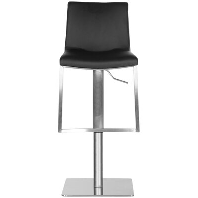 Fox Adjustable Height Swivel Bar Stool Upholstery: Black