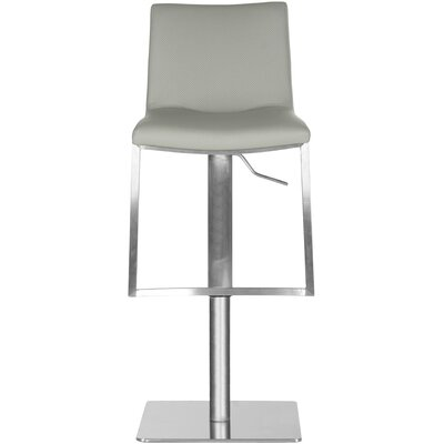 Fox Adjustable Height Swivel Bar Stool Upholstery: Gray