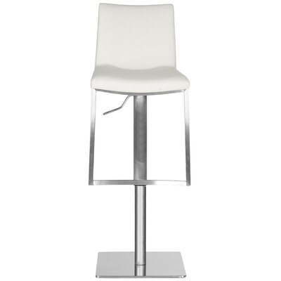 Fox Adjustable Height Swivel Bar Stool Upholstery: White
