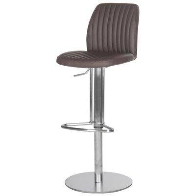 Fox Adjustable Height Swivel Bar Stool with Cushion Seat Finish: Brown