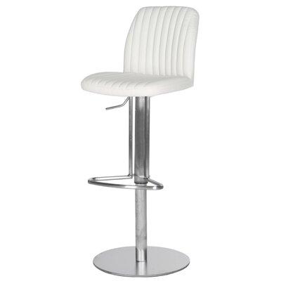 Fox Adjustable Height Swivel Bar Stool with Cushion Seat Finish: White