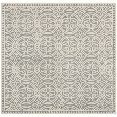 Landen Hand-Tufted Silver/Ivory Area Rug Rug Size: Square 6