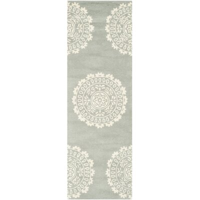 Goldwell Hand-Woven Wool Gray Area Rug Rug Size: Runner 23 x 7