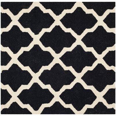 Charlenne Black & Ivory Area Rug Rug Size: Square 6