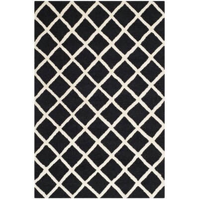 Darla Hand-Tufted Wool Black/White Area Rug Rug Size: Rectangle 4 x 6