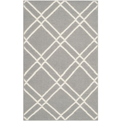 Dhurries Grey/Ivory Area Rug Rug Size: Rectangle 6 x 9
