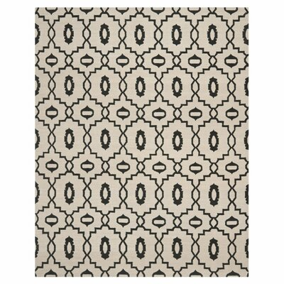 Dhurries Ivory/Black Area Rug Rug Size: Rectangle 5 x 8