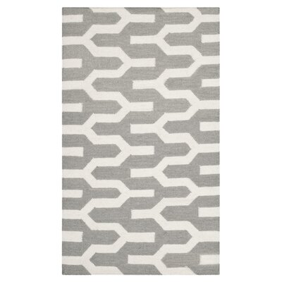 Dhurries Grey & Ivory Area Rug I Rug Size: 5 x 8
