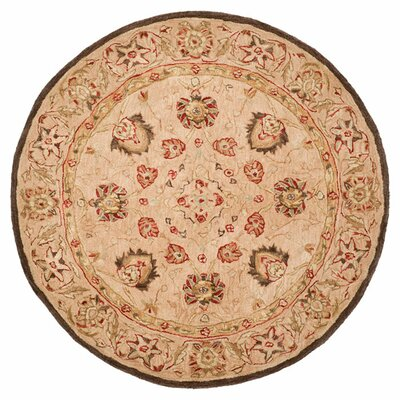 Anatolia Hand-Woven Wool Brown Area Rug Rug Size: Round 4