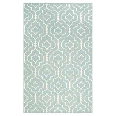 Masaryktown Hand-Woven Wool Light Blue/Ivory Area Rug Rug Size: Rectangle 4 x 6