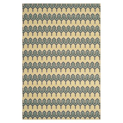 Hampton Green/Light Blue Outdoor Area Rug Rug Size: 4 x 6