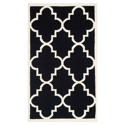 Dhurries Black/Ivory Area Rug Rug Size: 6' x 9'