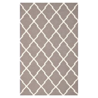 Dhurries Dark Grey/Ivory Area Rug Rug Size: 6 x 9