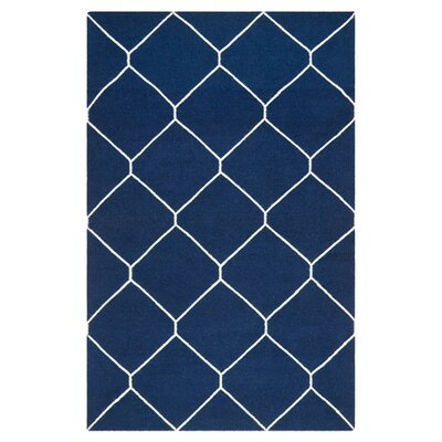 Dhurries Navy/Ivory Area Rug Rug Size: 9 x 12