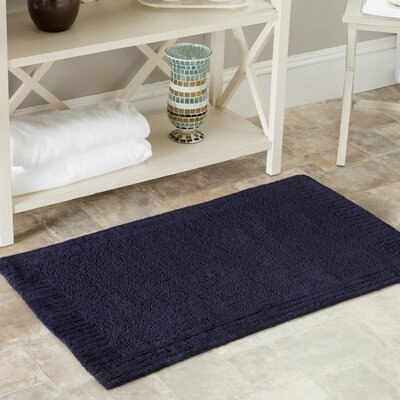 Plush Master Bath Rug II Color: Navy/Navy, Size: 27 x 45