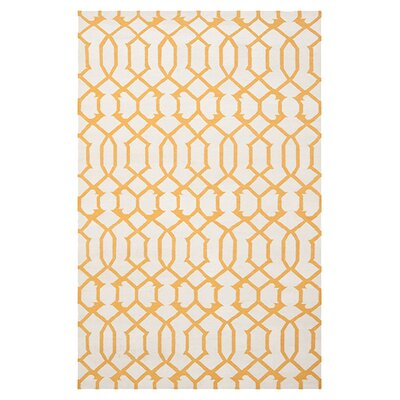 Dhurries Wool Ivory/Yellow Area Rug Rug Size: Rectangle 4 x 6