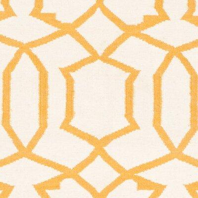 Dhurries Wool Ivory/Yellow Area Rug Rug Size: Rectangle 5 x 8