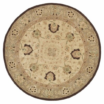 Anatolia Ivory/Brown Area Rug Rug Size: Round 8