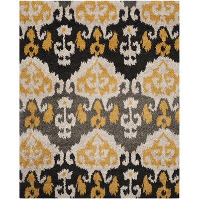 Tibetan Black/Gold Ikat Rug Rug Size: Rectangle 8 x 10