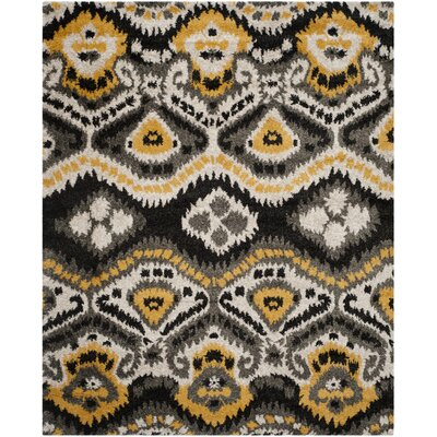 Tibetan Black/Gold Ikat Rug Rug Size: Rectangle 8' x 10'