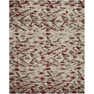 Tibetan Ivory/Red Ikat Rug Rug Size: 8 x 10