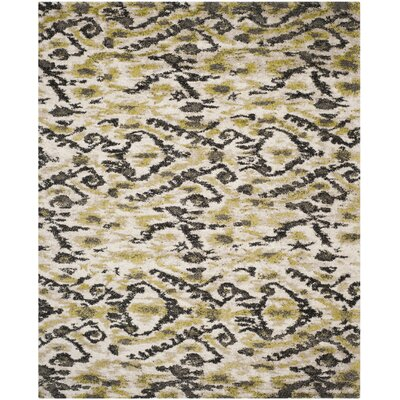 Tibetan Ivory/Green Ikat Rug Rug Size: Rectangle 8 x 10
