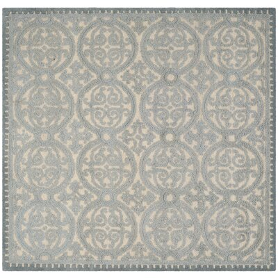 Cambridge Dusty Hand-Tufted Blue/Cement Area Rug Rug Size: Square 6