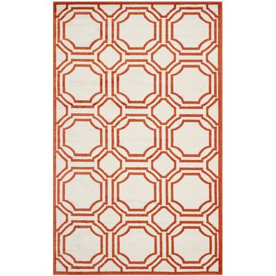 Maritza Ivory/Orange Indoor/Outdoor Area Rug Rug Size: Rectangle 4 x 6