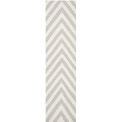 Dhurries Wool Gray/Ivory Area Rug Rug Size: Runner 26 x 10