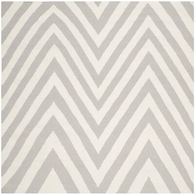 Dhurries Grey & Ivory Area Rug Rug Size: Square 6'