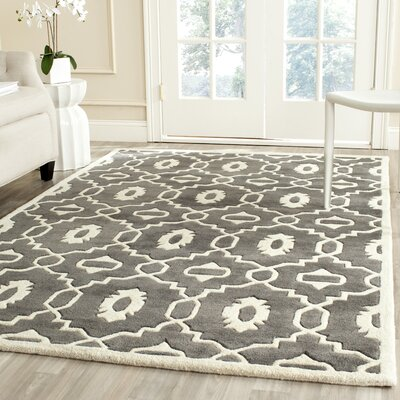 Wilkin Moroccan Hand-Tufted Wool Dark Gray/Ivory Area Rug Rug Size: Rectangle 4 x 6