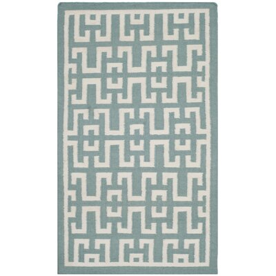 Hand-Woven Wool Seafoam/Ivory Area Rug Rug Size: Rectangle 3 x 5