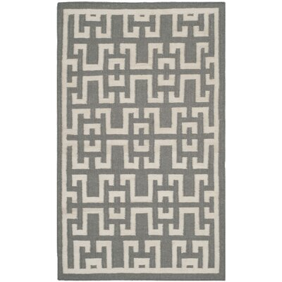 Dhurries Soft Grey /  Ivory Moroccan Area Rug Rug Size: 3 x 5