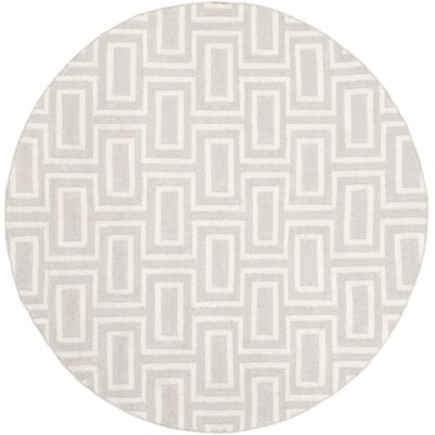 Dhurries Wool Gray/Ivory Area Rug Rug Size: Round 6