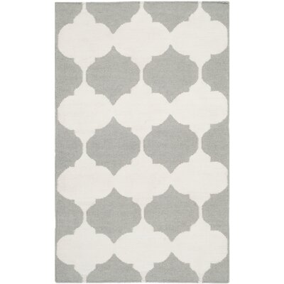 Dhurries Grey & Ivory Area Rug Rug Size: Rectangle 4 x 6