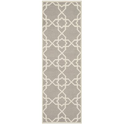 Dhurries Hand-Woven Wool Purple/Ivory Area Rug Rug Size: Runner 26 x 6