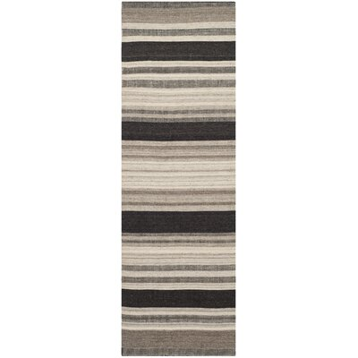 Dhurries Brown/Ivory Area Rug Rug Size: Runner 26 x 8