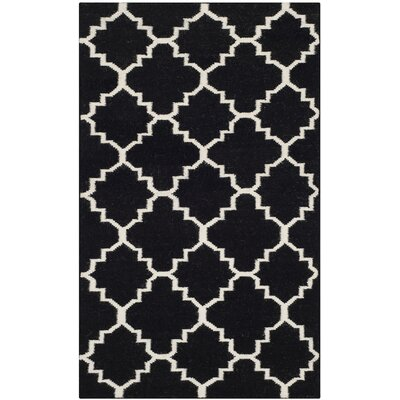 Dhurries Black/Ivory Indoor/Outdoor Area Rug Rug Size: 6 x 9