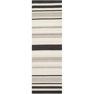 Dhurries Natural/Grey Moroccan Area Rug Rug Size: Runner 2'6