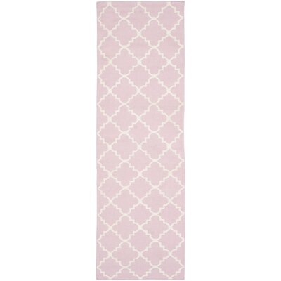 Pink/Ivory Area Rug Rug Size: Runner 26 x 8