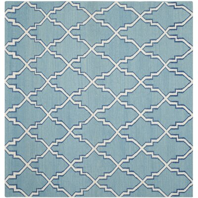 Dhurries Blue/Ivory Area Rug Rug Size: Square 6