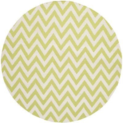 Moves Like Zigzagger Hand-Woven Wool Green/Ivory Area Rug Rug Size: Round 6