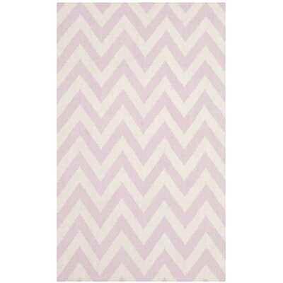 Dhurries Pink & Ivory Area Rug Rug Size: 3 x 5