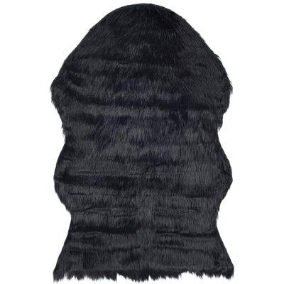 Zelem Faux Sheepskin Black Area Rug Rug Size: 4 x 6