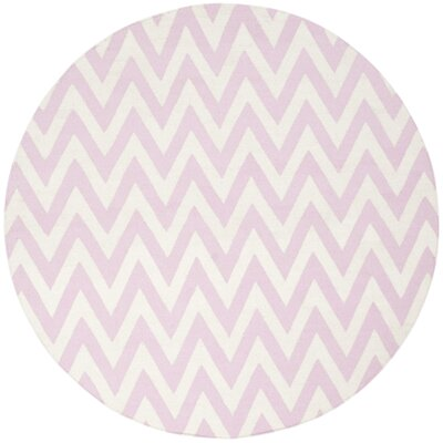 Dhurries Pink & Ivory Area Rug Rug Size: Round 6