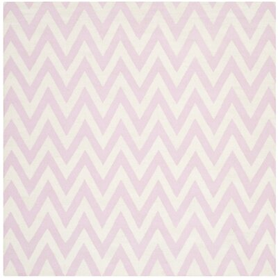 Dhurries Pink & Ivory Area Rug Rug Size: Square 8