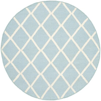 Dhurries Light Blue/Ivory Area Rug Rug Size: Round 4