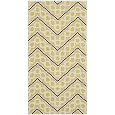 Hampton Beige Chevron Outdoor Area Rug Rug Size: Rectangle 27 x 5
